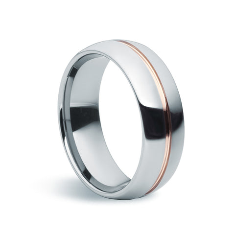 Tungsten Carbide & Rose Gold Ring - Zaffre Jewellery - 1