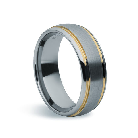 Tungsten Carbide Matte & Gold Ring - Zaffre Jewellery - 1