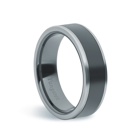Tungsten Carbide & Black Ceramic Ring - Zaffre Jewellery - 1