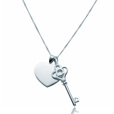 Key & Heart Pendant Pair Necklace - Zaffre Jewellery - 1