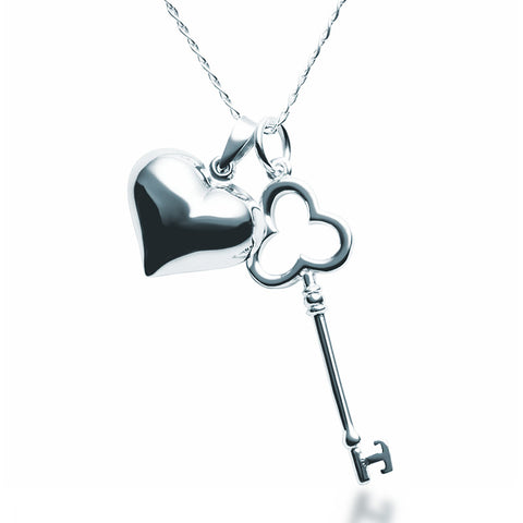 Heart & Key Pendant Necklace - Zaffre Jewellery - 1