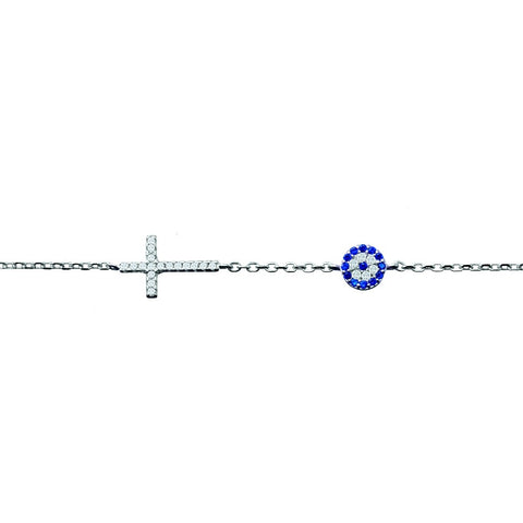 Evil Eye Cross Bracelet with CZ
