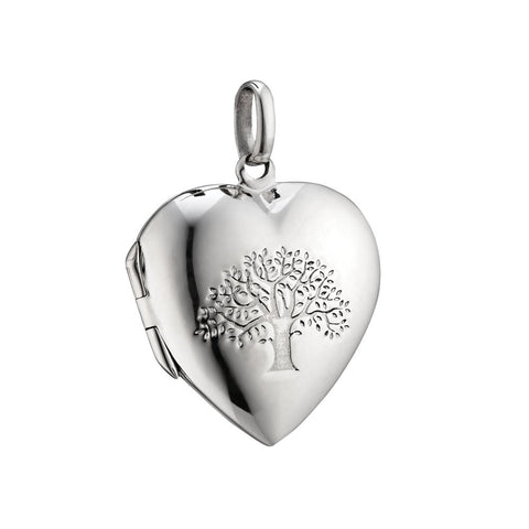 Tree Of Life Silver Heart Locket Necklace