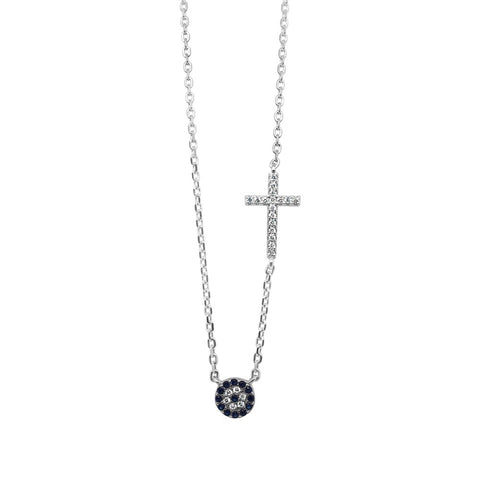 Evil Eye Cross with CZ Sterling Silver Necklace