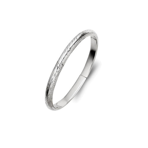 Engraved Silver Children's Bangle - Zaffre Jewellery - 1