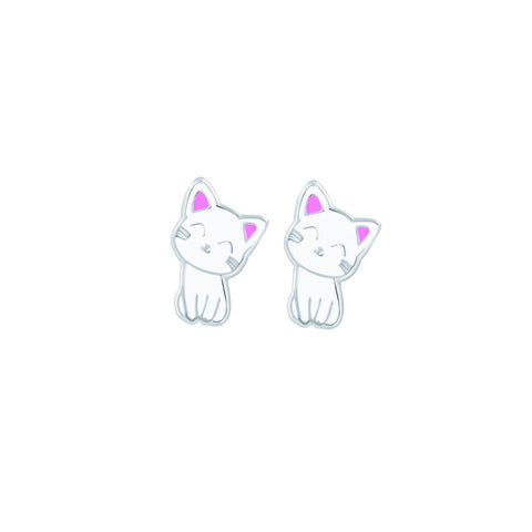 Tiny Treasures Sterling Silver Kitty Stud Earrings