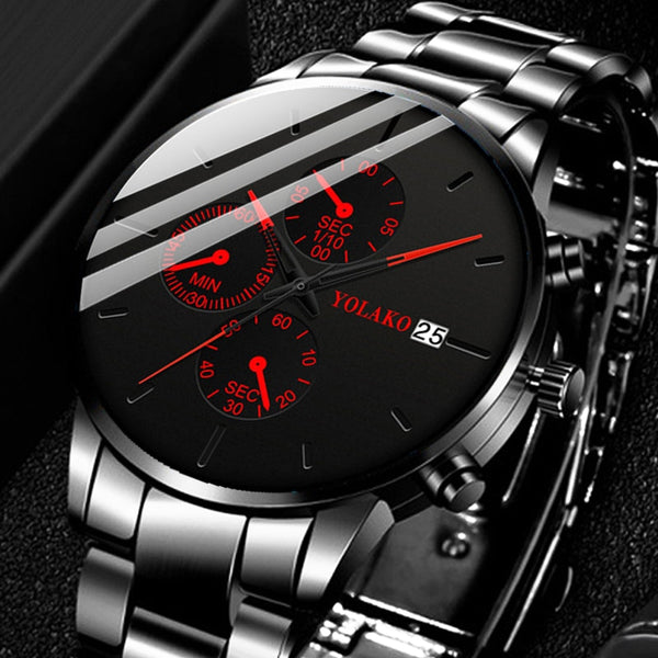 Black Steel Luxury Quartz Watch
