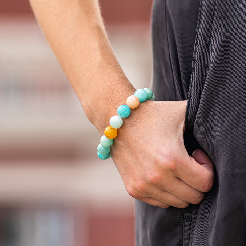 5th Throat Chakra Amazonite Gemstone Beaded Elastic Bracelet