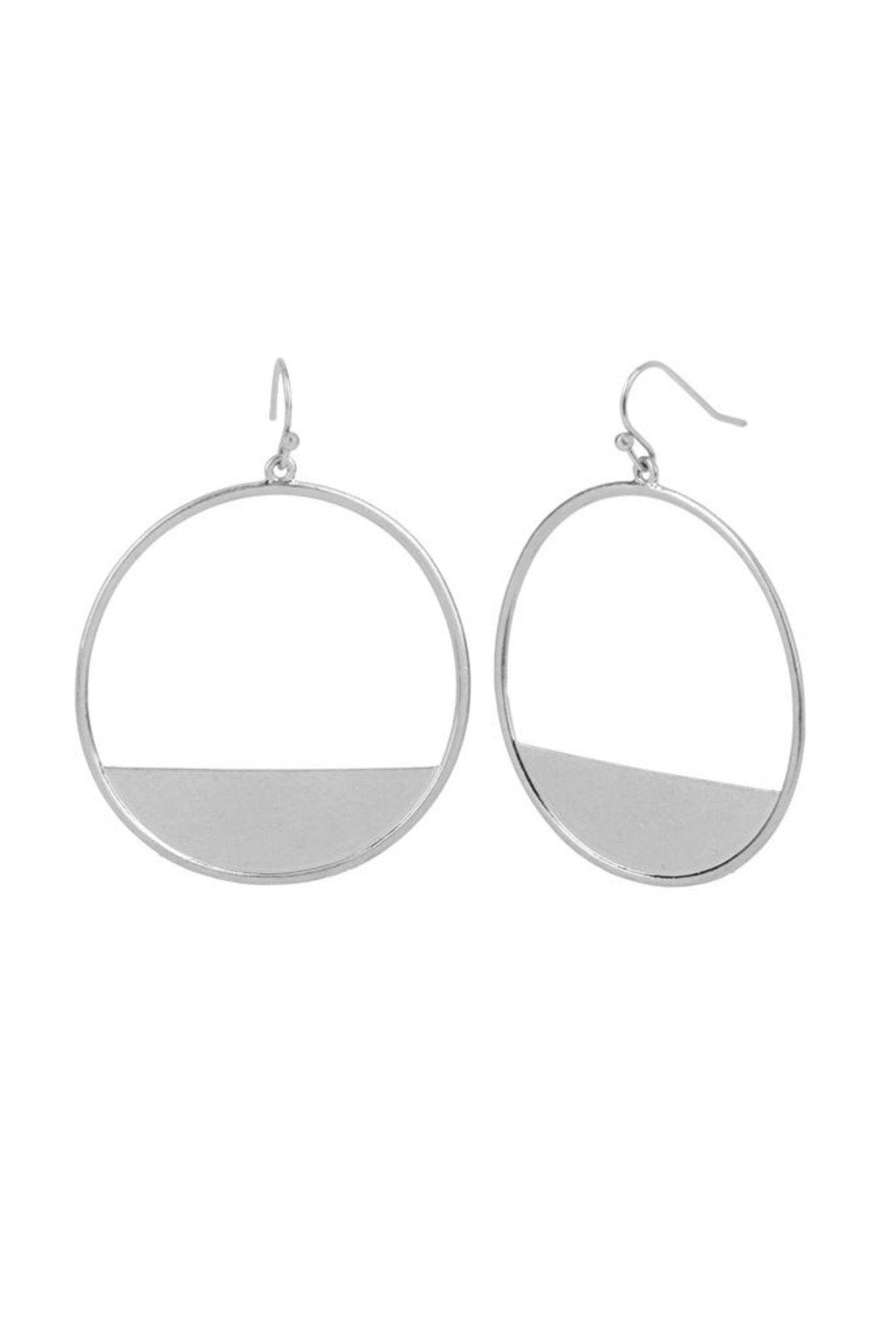 Silver Crescent Block Hoop Earrings JEWELRY Whispers