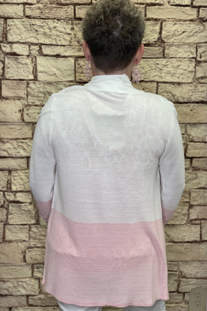 Pink/White Open Cardigan OUTFIT COMPLETER K.Lane's Boutique