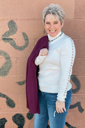 Cowl Neck Grommet Sweater
