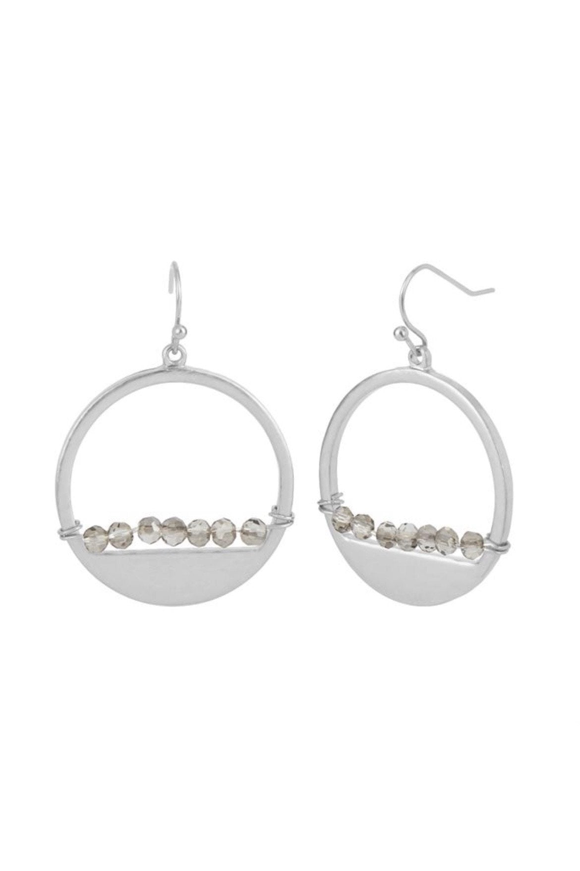 Silver Hoop W/ Faceted Dangle JEWELRY Whispers