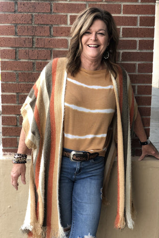 Stripe Hairy Yarn Pancho