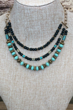 Wood Bead Necklace Teal JEWELRY K.Lane's Boutique