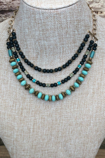 Wood Bead Necklace Teal