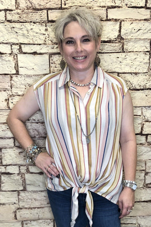 Striped Tie Top JR TOP DRESSY K.Lane's Boutique