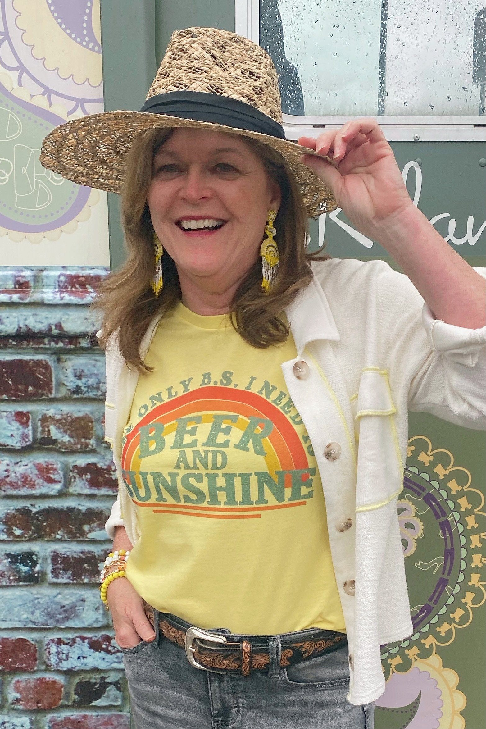 Beer and Sunshine Tee MISSY BASIC KNIT KISSED APPAREL