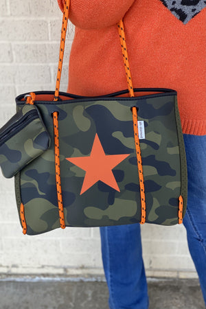 Camo Neoprene Bag HANDBAGS K.Lane's Boutique