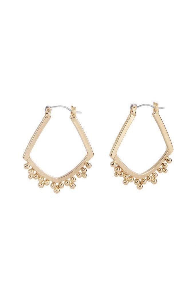 Gold Rhomubs Ball Hoop Earrings