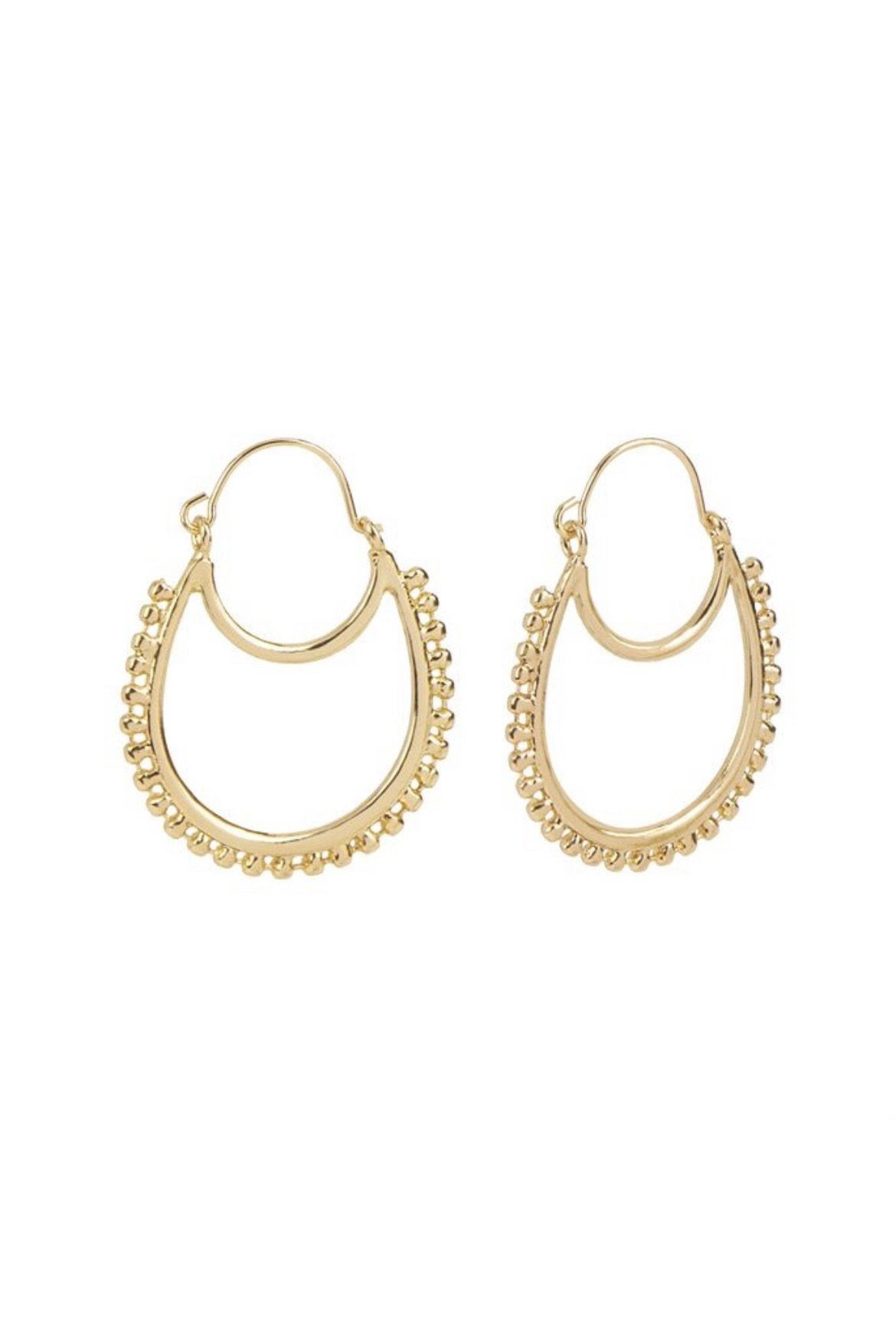 Gold Double Crescent Ball Hoop JEWELRY Whispers