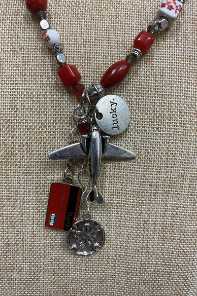 Red Long Airplane Necklace
