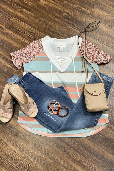 Color Block Lace Up Top