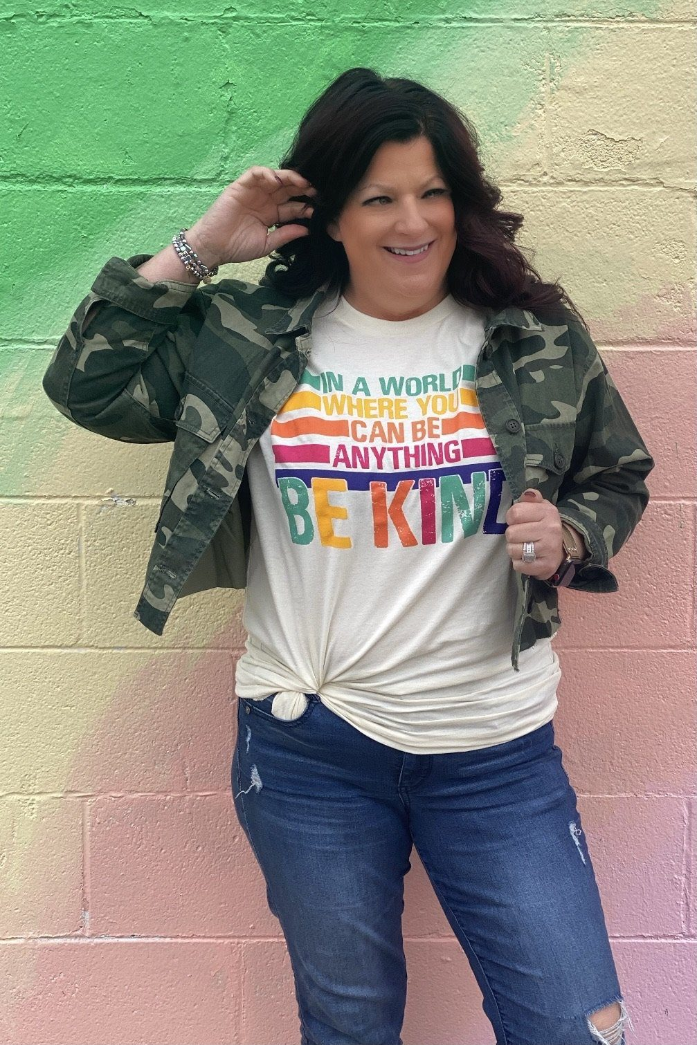 Be Kind Rainbow Tee MISSY BASIC KNIT K.Lane's Boutique