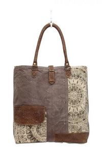 Flower Design Canvas Tote