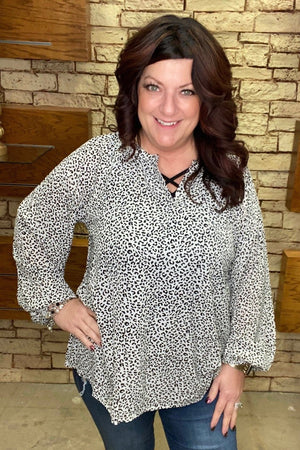 Leopard Dot Blouse JR TOP DRESSY K.Lane's Boutique
