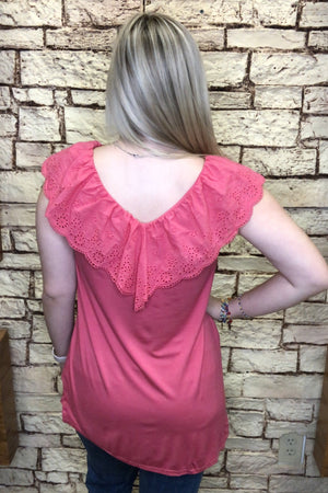 Eyelet Ruffle Lace Top