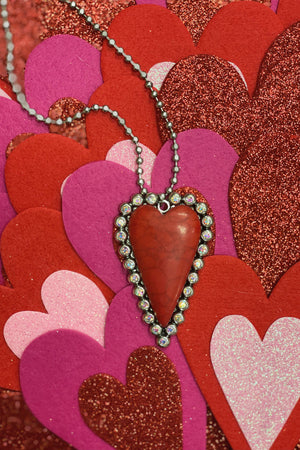 Heart Ball Chain JEWELRY K.Lane's Boutique RED