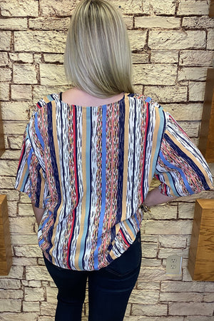 Crinkle Stripe Blouse MISSY TOP SPECIAL K.Lane's Boutique