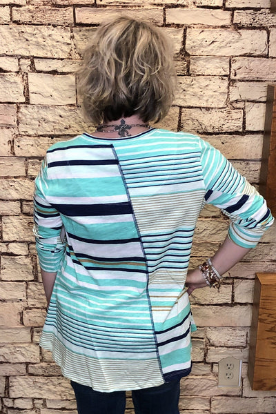 Striped Side Button Top
