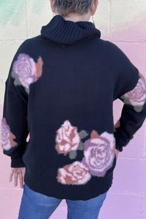 Flowered Up T-Neck Sweater