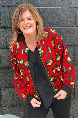Print Bomber Jacket OUTFIT COMPLETER K.Lane's Boutique REDPUNCH S