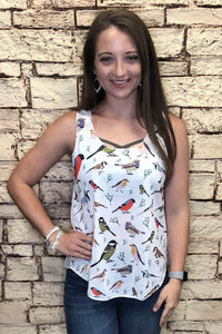 All Over Bird Print Tank