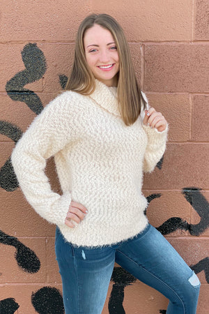 Cowl Neck Fuzzy Cozy Knit Sweater Top SWEATER K.Lane's Boutique VANILLA S