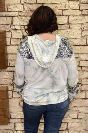 Tie Dye Aztec Hoodie JRTOP CASUAL TOP POL CLOTHING