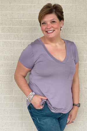 V- Neck Pkt Tee JRTOP CASUAL TOP K.Lane's Boutique PERIWINKLE S