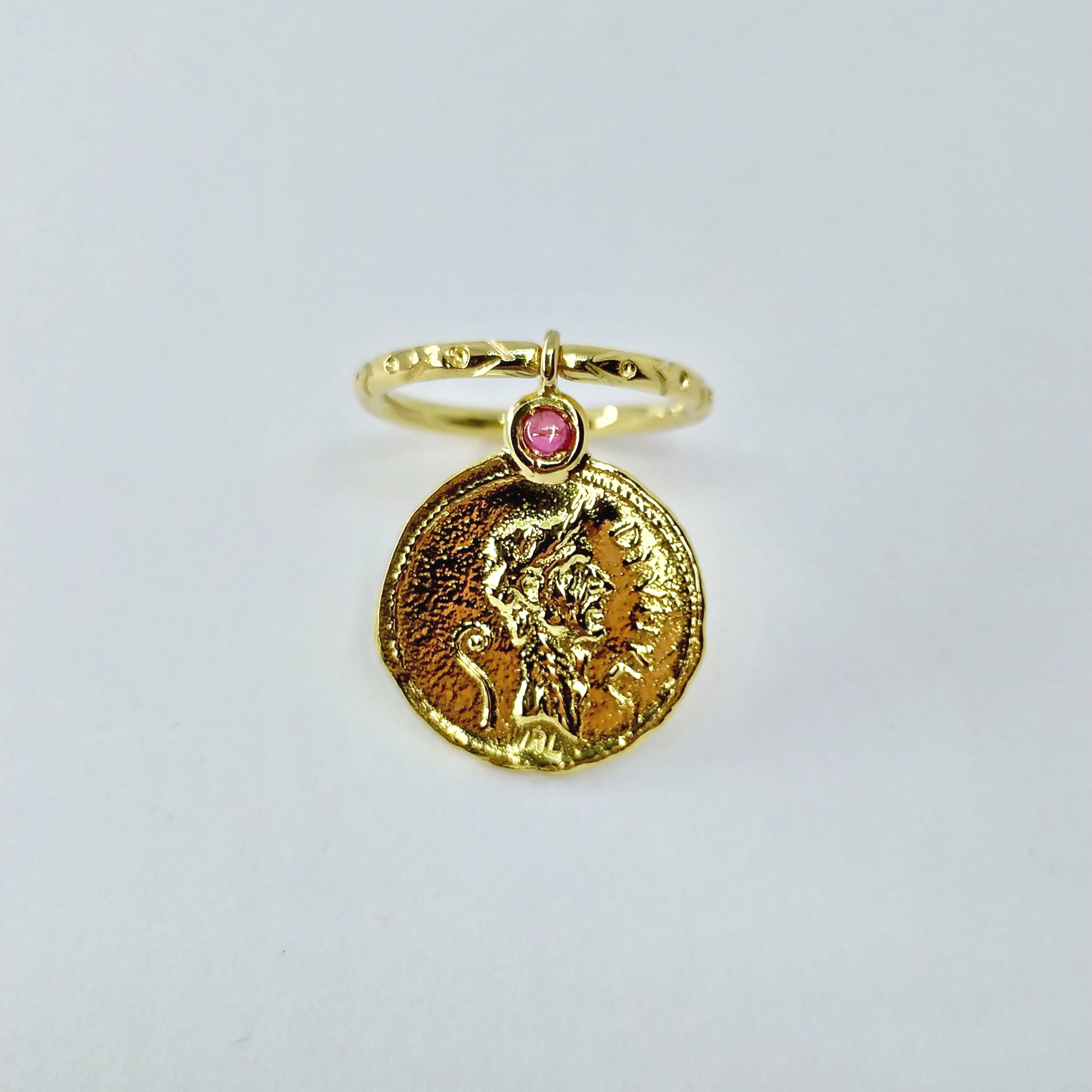 """Julius Caesar and the She Wolf"" Coin Pendant Ring - Florentine Handmade Jewellery"