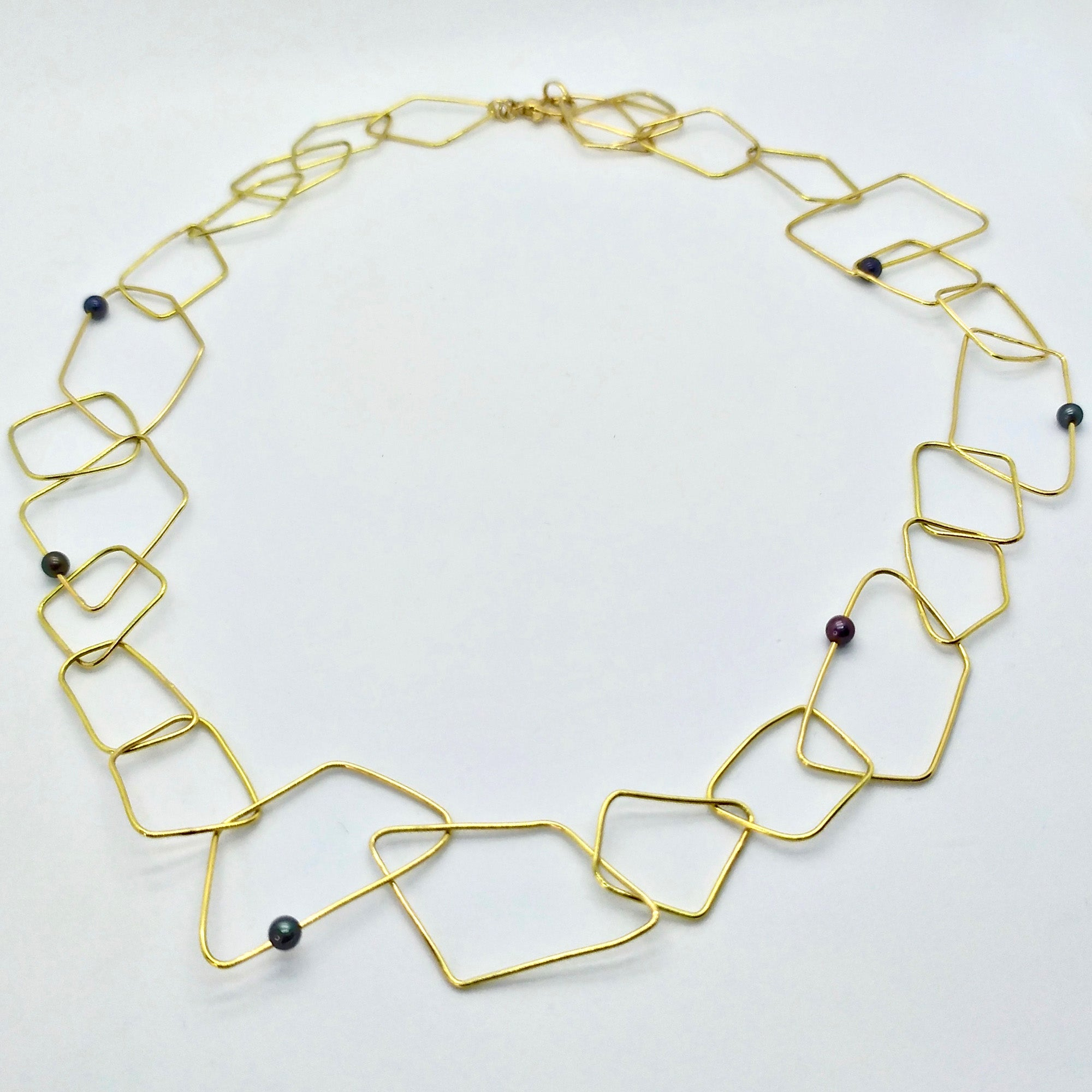 Rhombus Necklace with Black Pearls [Unique Piece] - Florentine Handmade Jewellery