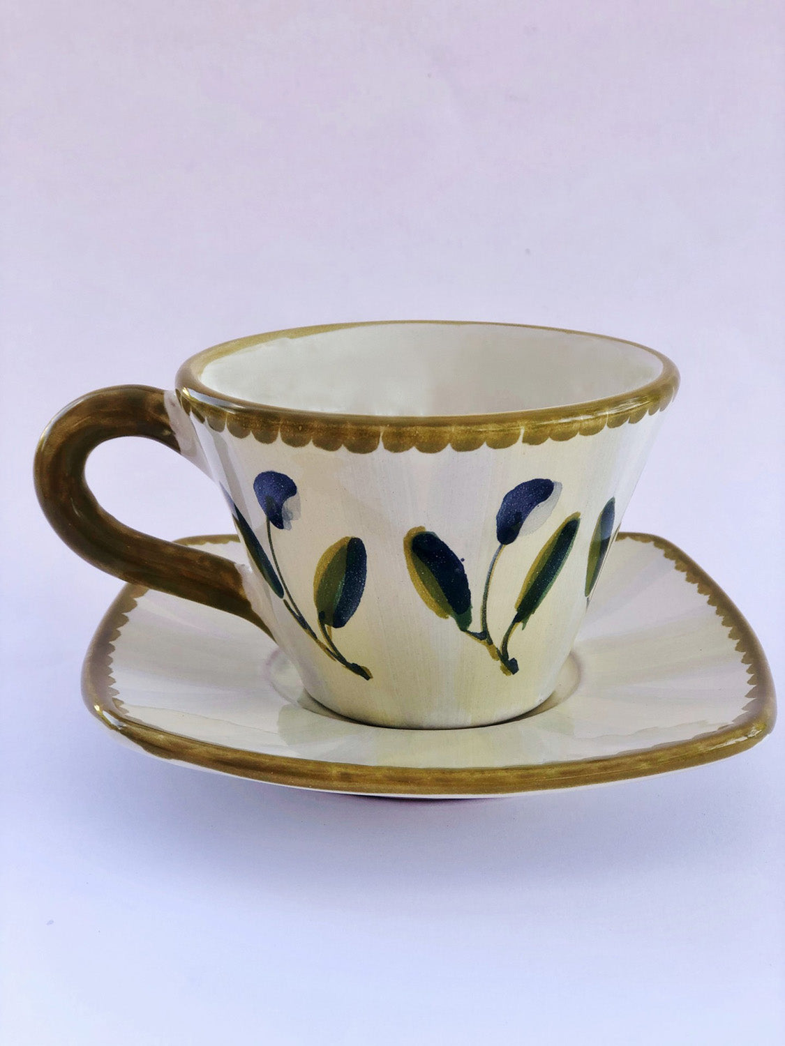 Breakfast Cup with Saucer - Handpainted Ceramics