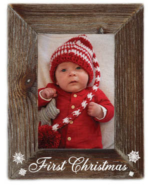 Babies First Christmas Milestone Natural Wood 4 x 6 Picture Frame Farmhouse Tabletop or Wall Hanging Rustic Home Decor