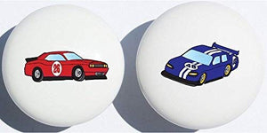 Red and Blue Stock Race Car Drawer Pulls/Race Car Childern's Nursery Decor Ceramic Drawer Knobs