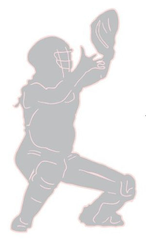 Softball Catcher Wall Decals/Sports Wall Stickers in Grey with Pink