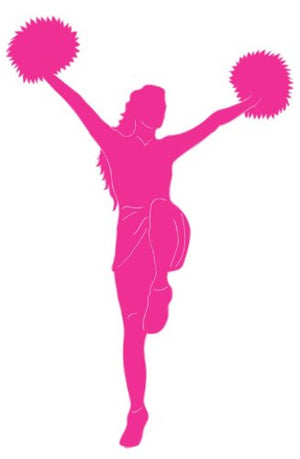Cheerleader Wall Decal / Pink Cheerleader Wall Sticker in a Victory Stance