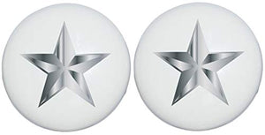 Two Silver Nautical Star Drawer Knobs Ceramic Dresser or Cabinet Handle Pulls Grey Children's Nursery Decor (Set of Two)