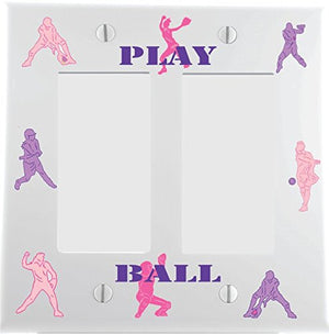 Pink and Purple Softball Switch Plate and Outlet Covers/Girls Softball Light Wall Plate Decor