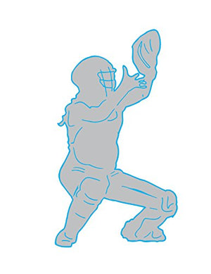 Grey and Blue Softball Catcher Wall Decals/Girls Sports Wall Stickers in Blue/Turquoise and Grey