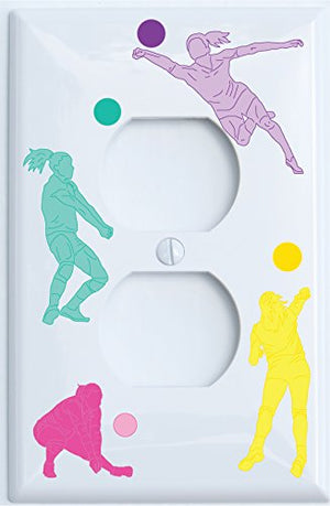 Girls Volley Ball Light Switch Plates and Outlet Covers / Volley Ball Wall Decor